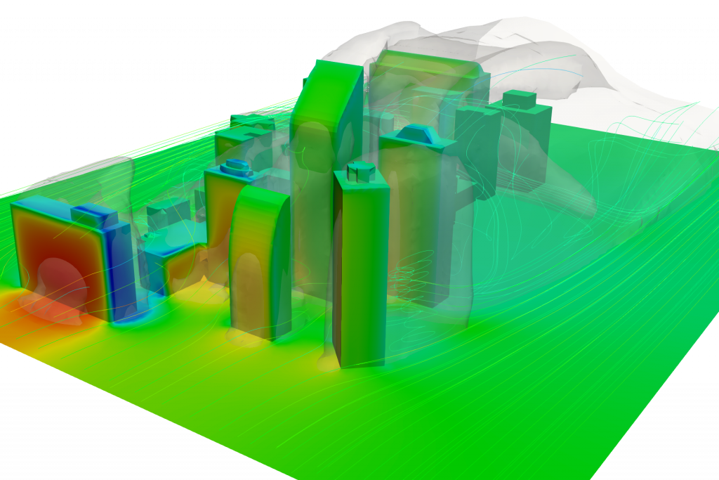cfd simulation of buildings with the resulting pressure distribution