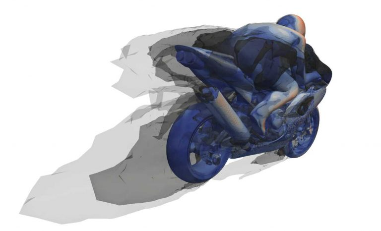 CFD model of a motorbike highlighting the wake structures behind it
