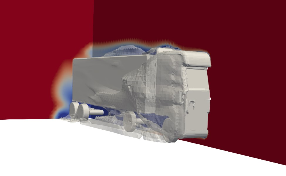Aerodynamic wake around a semi trailer truck without skirts