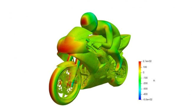 Cp distribution on the motorbike body