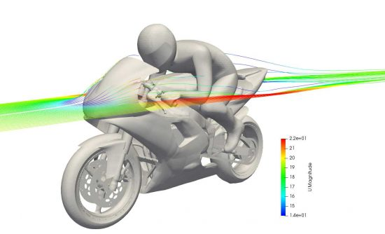 CFD model of a motorbike with streamlines