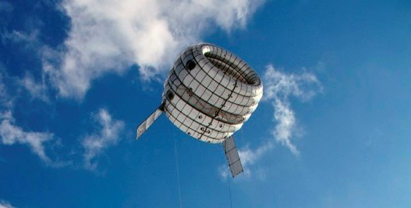 flying balloon with integrated wind turbine in the centre