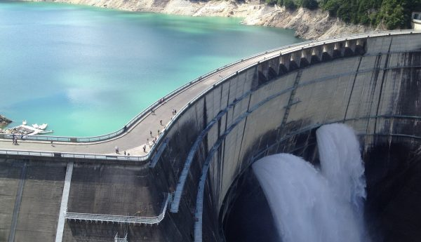 high ground water reservoir with exiting flow from a dam