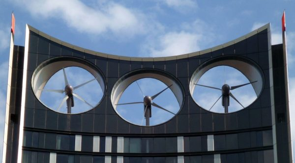 integrated wind turbines on top of the strata building in London