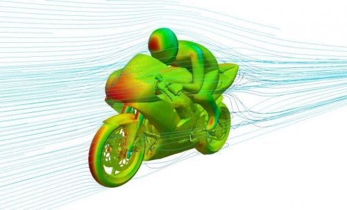 Pressure field and streamlines around motor bike