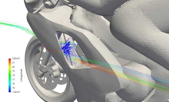 Streamlines exiting the motorbike radiator from a CFD simulation