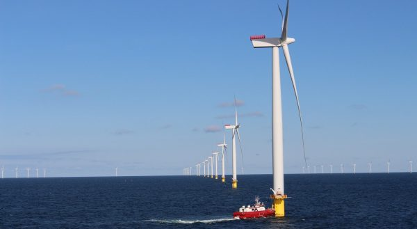 offshore wind farm with a boat
